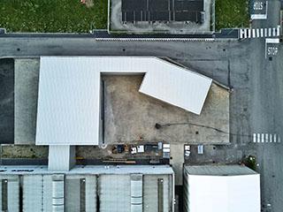 esperienza drone immagine aerea portfolio cantiere architettura milano studio gdmp costruzione magazzino